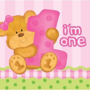 Χαρτοπετσέτα για Decoupage Bear's first birthday - Girl