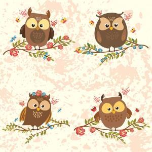 Χαρτοπετσέτα για Decoupage Brown Owls on Twigs