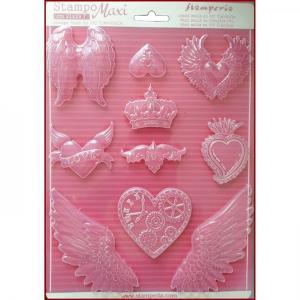 Εύκαμπτο Καλούπι για Σαπούνι-Γύψο - 21x29.7cm - Καρδιές & Φτερά