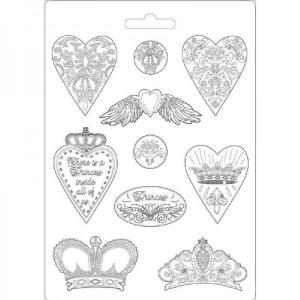 Εύκαμπτο Καλούπι για Σαπούνι-Γύψο - 21x29.7cm - Hearts and Crowns