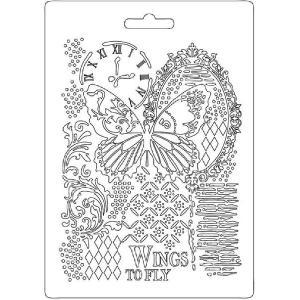 Εύκαμπτο Καλούπι Stamperia - A5 - Πεταλούδα/Ρολόι