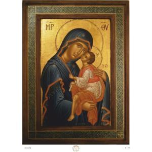 Ριζόχαρτο με αγιογραφία της Παναγίας 29.7 x 21cm IC109