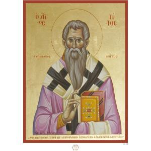 Ριζόχαρτο με αγιογραφία του Αγίου Τίτου 29.7 x 21cm IC101