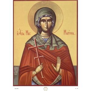 Ριζόχαρτο με αγιογραφία της Αγίας Μαρίνας 29.7 x 21cm IC102