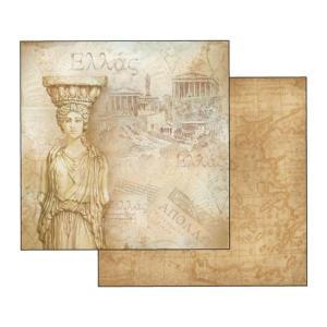Χαρτί Scrapbooking Διπλής Όψεως Χάρτης Ελλάδα 30.5x30.5cm Stamperia