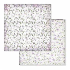 Χαρτί Scrapbooking Διπλής Όψεως Μωβ Λουλουδάκια 30.5x30.5cm Stamperia