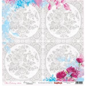 Χαρτί Scrapbooking Double-Sided 30.5x30.5cm Floral Embroidery - Embroidery Patterns