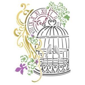 Στενσιλ διακοσμητικό bird cage 15x20 Stamperia