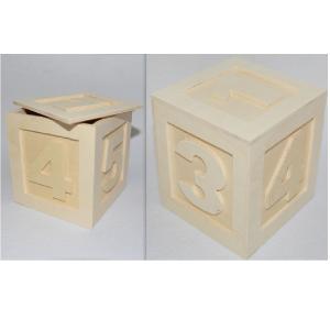 Ξύλινο κουτί κύβος με νούμερα ανάγλυφα 12.5cm