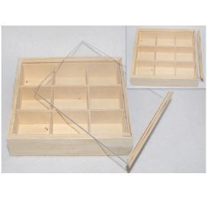 Ξύλινο  κουτί με χωρίσματα  και  πλέξιγκλας καπάκι 17x13cm