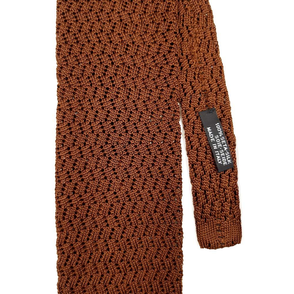 Brown Zig Zag Knitted Tie