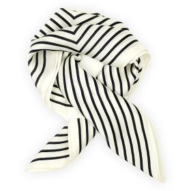White with black stripes square scarf