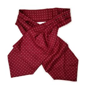 Bordeaux and White Polka Dot Ascot