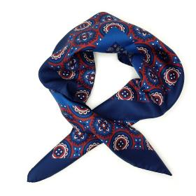 Blue and Red Patterned Square Scarf