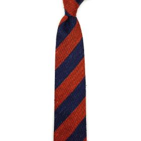 Red and Navy Shantung Silk Tie