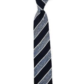 Navy and Blue Handmade  Shantung Silk Tie