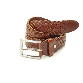 Cognac/ Tan Brown Braided Belt