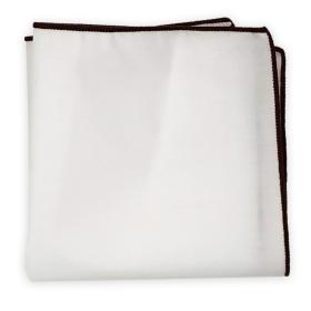 White Hanky with Brown Stitched Hem