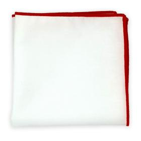 White Hanky with Red Stitched Hem