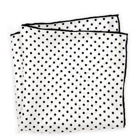 White and Dark Blue Polka Dot Pocket Square