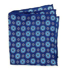 Blue Geometric Pattern Pocket Square