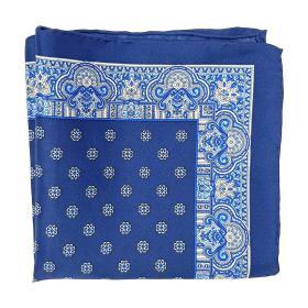 Silk Navy Blue Patterned Pocket Square