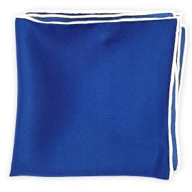 Navy Blue Pocket Square with White Edges