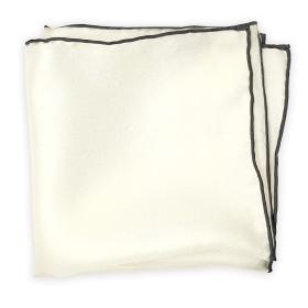 White Pocket Square with Grey Edges