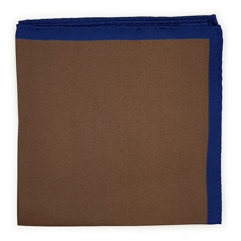 Brown with Navy Border Pocket Square