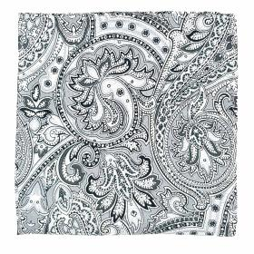 White and Grey Paisley Pochette