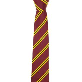 Bordeaux Tie with Yellow Stripes