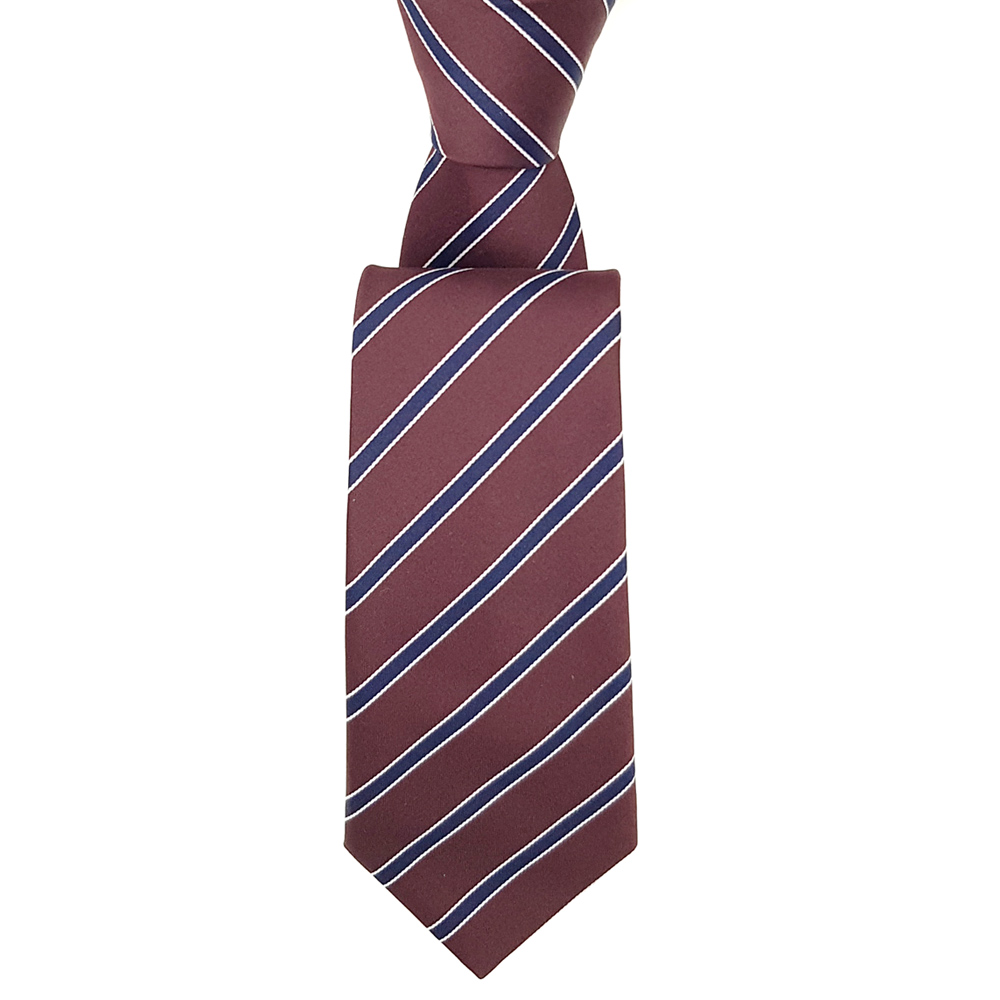 Burgundy Tie with Navy Stripes