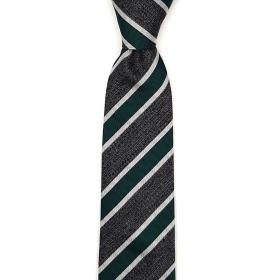 Silk TIe with Green and Charcoal Stripes