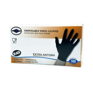 Γάντια μιας Χρήσης Βινυλίου Αντοχής Μαύρα 100τεμ
