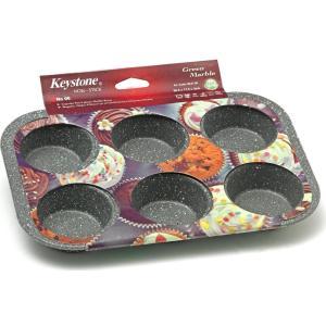 Φόρμα Cupcakes/Muffins με Μαρμάρινη Επίστρωση 6 Θέσεων 26.5x17.5cm Keystone 08.61.06