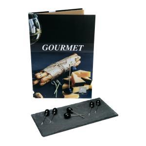 Πέτρινο Πλατό Τυριών Με 6 πιρουνάκια Τυριού Βιβλίο Gourmet Vol 4 HFA 5460004