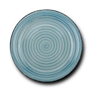 Στρογγυλό Πιάτο Ρηχό Κεραμικό Lines Faded Blue Ø27cm Nava 10-099-221