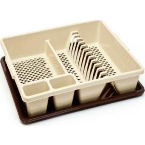 Πιατοθήκη Πλαστική με Δίσκο Καφέ/Μπέζ 50x39x10cm Homestyle 107109