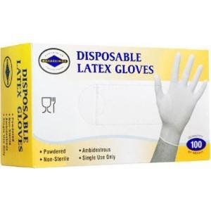 Γάντια Λάτεξ Με Πούδρα Λευκό 100τεμ/Πακέτο Θαλασσινός