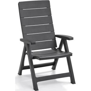 Καρέκλα Εξωτερικού Χώρου Ανακλινόμενη PP Brasilia Graphite 63x67x111cm 221204 Keter 26.10047
