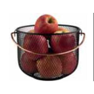 Καλάθι Φρούτων/Ψωμιού Μεταλλικό Μαύρο Με Χάλκινο Χέρι 21x16,5cm APS 27.30207