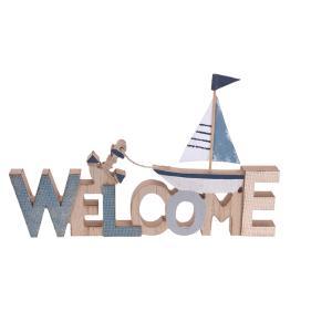 """Επιγραφή Ξύλινη Καλοκαιρινή 30x20x19cm  """"Welcome"""" 442353"""