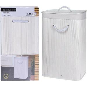 Καλάθι Απλύτων Bamboo Λευκό 40X30X60cm JK Home Decoration 456824