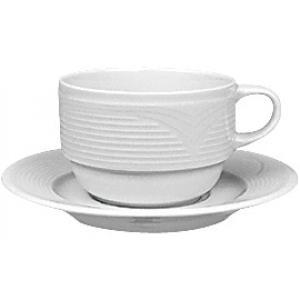 Φλυτζάνι Καφέ Στοιβαζόμενο 23cl-15cm Με Πιατάκι Άσπρο Πορσελάνη Saturn Gural 52.84610