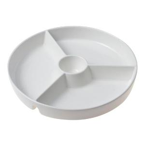 Ξηροκαρπιέρα Στρογγυλή 4θέσεων Πορσελάνης Party Time Λευκή 25x25x3cm HFA 5449003
