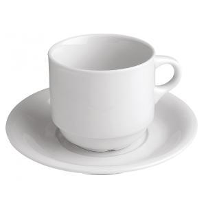 Φλυτζάνι Τσαγιού & Πιατάκι Στοιβαζόμενο 14cm Λευκή Πορσελάνη Gtsa 64-02214