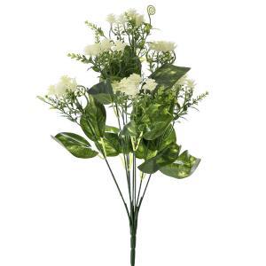 Μπουκέτο Πρασινάδα με Λευκά Λουλούδια 35εκ Ai Decoration 65280