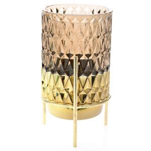 Κηροπήγιο Σε Βάση Καφέ/Χρυσό Γυαλί/Μέταλλο 8x17cm AI Decoration 72424