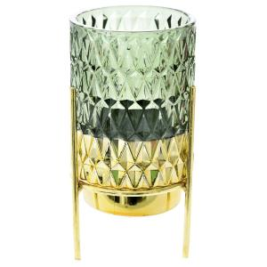 Κηροπήγιο Σε Βάση Πράσινο/Χρυσό Γυαλί/Μέταλλο 8x17cm AI Decoration 72425