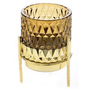Κηροπήγιο Σε Βάση Καφέ/Χρυσό Γυαλί/Μέταλλο 7x10cm AI Decoration 72426